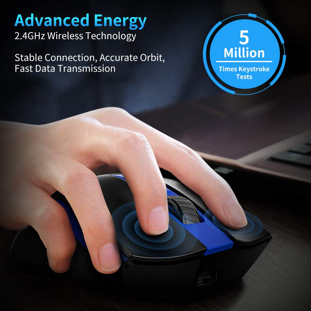 con Receptor Nano Carga USB Ratones Portatil Silencioso TedGem 2.4G Ergon/ómico Raton Recargable Portatil Raton Inalambrico Recargable Azul para PC//Computadora port/átil//Macbook