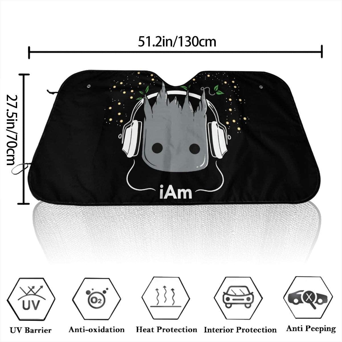 REECECAM Baby Groot Windshield Snow Cover No More Scraping Car Fits Most Car 51.2 X 27.5