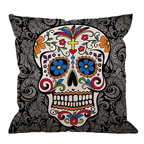 HGOD DESIGNS Skull Pillow Case Decor Colorful Sugar Skull Cotton Linen Square Cushion Cover Standard Pillowcase Men Women Kids Home Decorative Sofa Armchair Bedroom Livingroom 18 x 18 inch