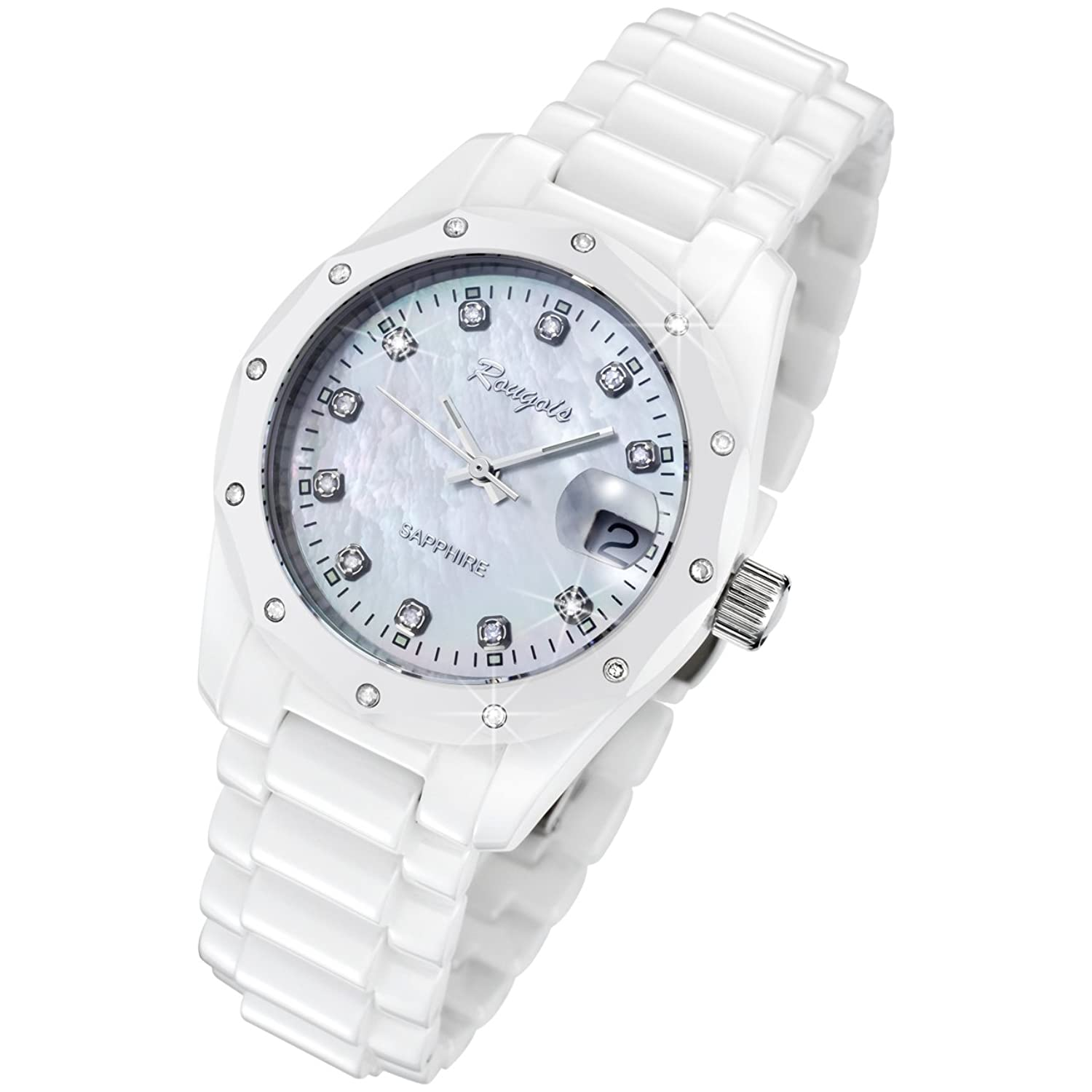 Rougois White Ceramic Watch with 23 Diamonds and Mother of Pearl Dial