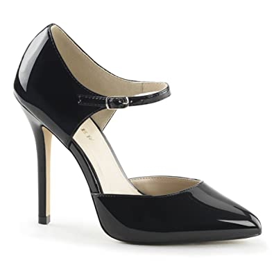 Amazon.com | Womens Black Patent 5 Inch Heels with Ankle Strap ...