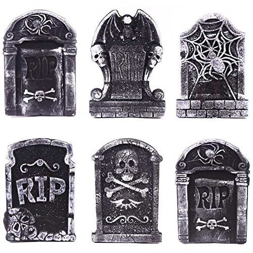 luckybuy168 4X Tombstone Halloween Graveyard Cemetary Prop Haunted Spooky Gravestones Decor