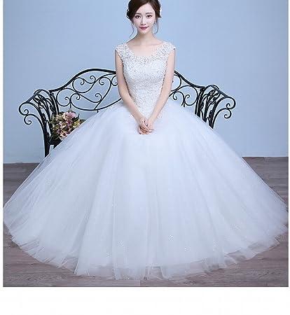 DRESS Vestidos de Novia Modernos de Hombro Qi Di Diadema de Plástico de Encaje de Boda