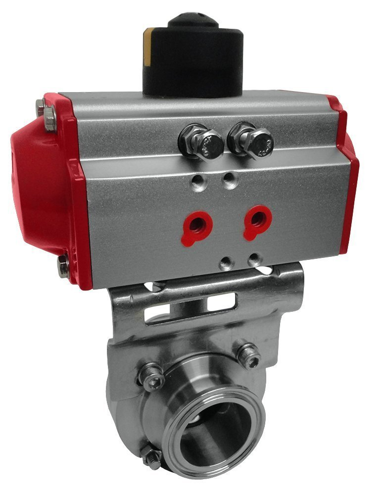 2 inch OD: 64mm ID: 47.8mm Triclamp Sanitary Butterfly Valve Pneumatic Actuator Butterfly Valve SS304 2