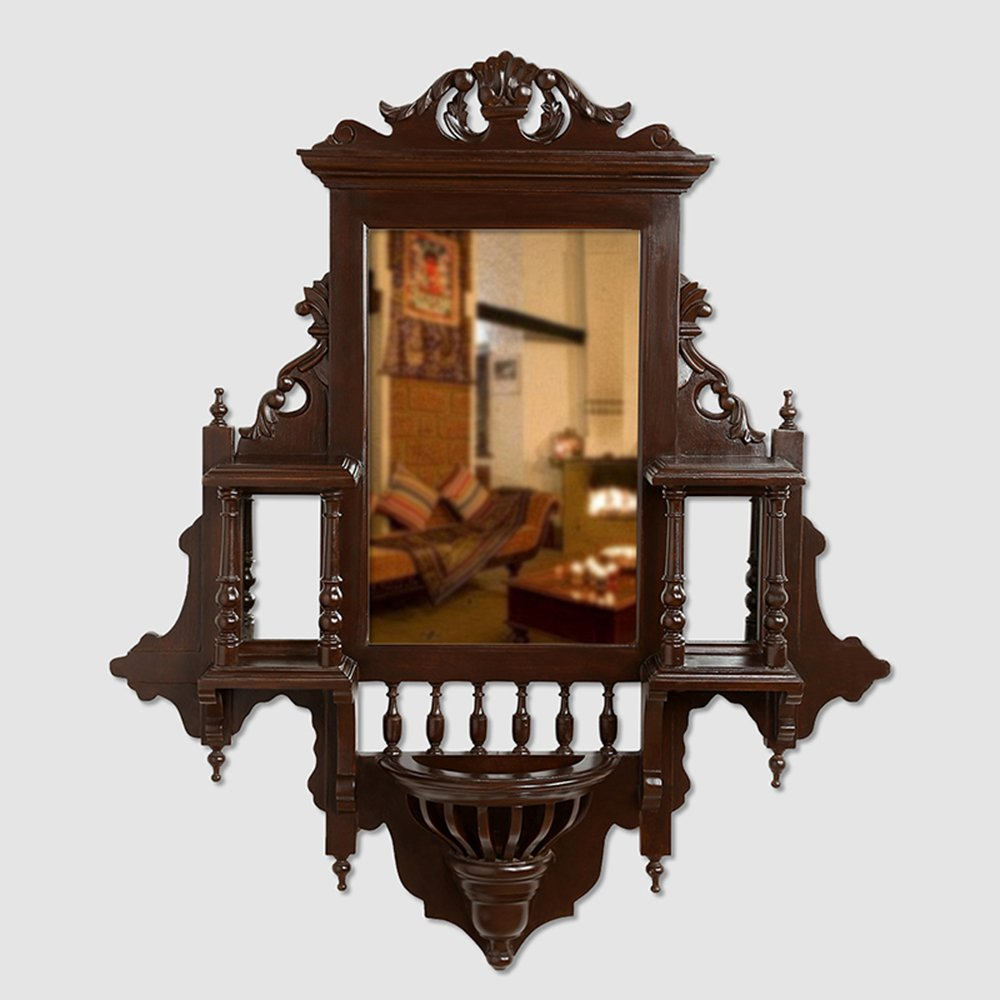 ExclusiveLane Teak Wood ''Maharaja'' Wall Mirror In Walnut Brown