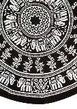 Handmade 100% Cotton Mandala Floral Elephant Tablecloth 72 Inch Round Black White
