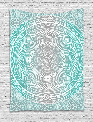 (Ambesonne Grey and Aqua Tapestry, Ombre Traditional Universe Symbol with Tribal Geometric Mandala Zen Artwork, Wall Hanging for Bedroom Living Room Dorm, 60 W x 80 L Inches, Aqua Grey)