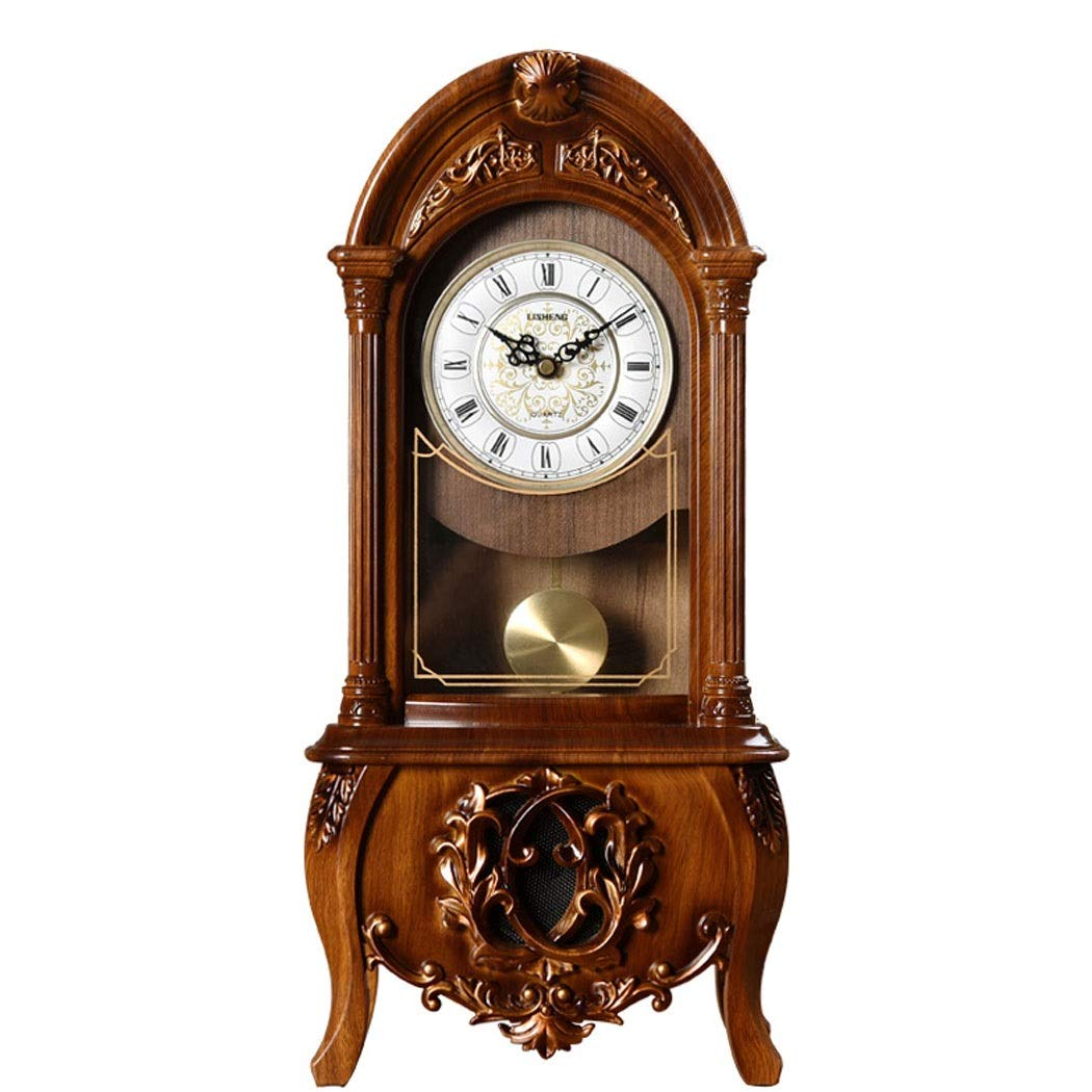 HONGNA European Retro Resin Clocks and Creative Home Clocks Living Room Large Vintage Pendulum Clock American Desktop Ornaments Desktop Clock 10 Inches (Color : Brown-Report time) by HONGNA (Image #1)