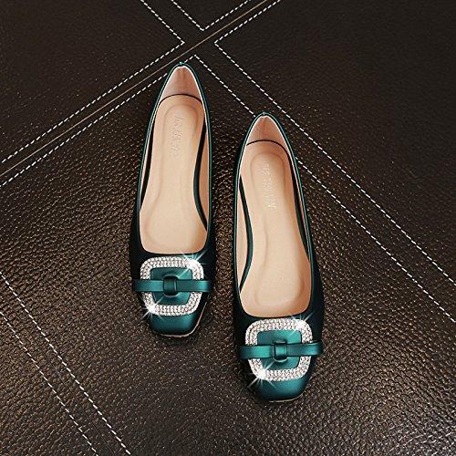 Xue Qiqi Court Schuhe Quadrat Flache Schuhe Flacher Flacher Flacher Mund Schmetterling Strass quadratische Schnalle flach mit Damen Schuhe 39 grün 00daa7