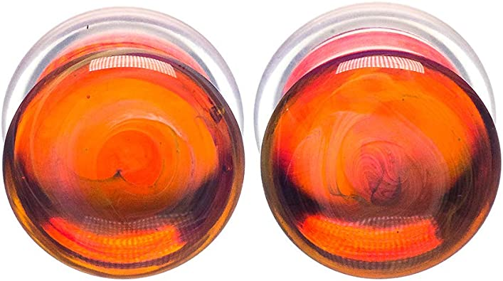 7//16 Orange Pair of Glass Double Flared Color Front Plugs