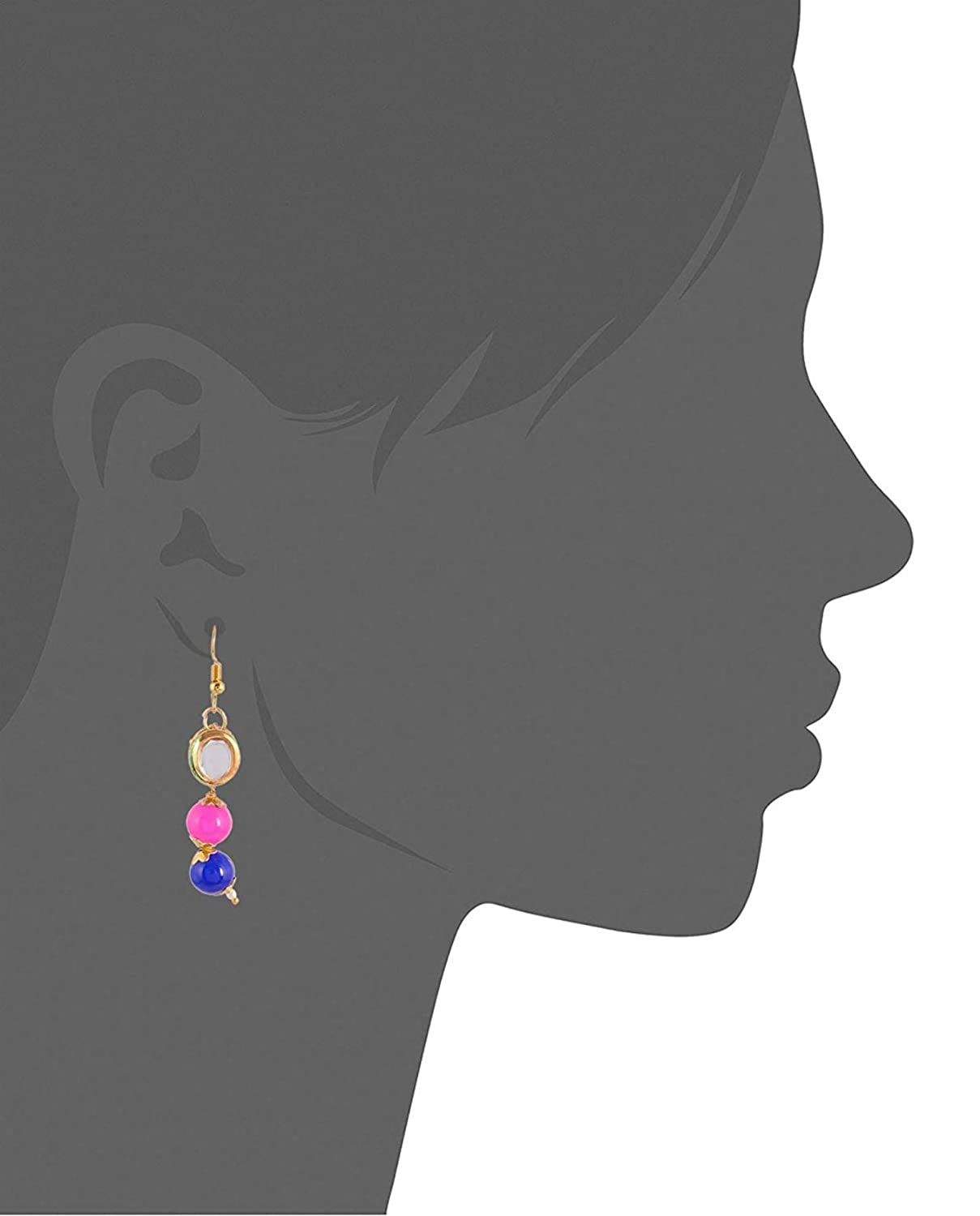 Subharpit Pink,Blue Pearl Golden Metal Non Precious Indian Ethnic Tratitional Dangle Earrings