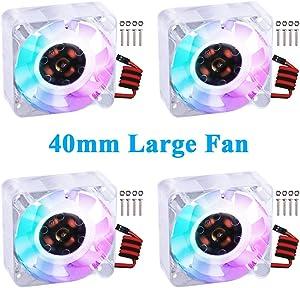 GeeekPi 4pcs Raspberry Pi 4 Quiet Fan, Raspberry Pi Cooling Fan 40x40x10mm 4010 Fan DC 5V Brushless CPU Cooling Fan Cooler Radiator for Raspberry Pi 4 Model B, Raspberry Pi 3B+/3B/2B (Multi-Colored)