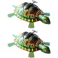 STOBOK Vintage Wind Up Toys Tortoise Figurine Turtle Figure Animals Clockwork Toy Model for Toddlers Children Kids Gift 2pcs