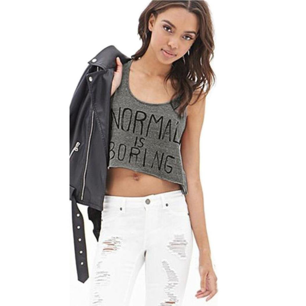 TOPUNDER Women Tank Tops Normal is Boring Letter Print Sleeveless Vest Blouse at Amazon Womens Clothing store: