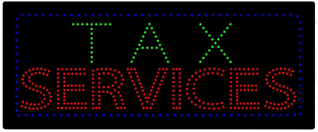LED Income Tax Service Open Light Sign Super Bright Electric Advertising Display Board for Tax Preparation Refund Department Office Attorney Business Shop Store Window Bedroom 32 x 13 inches