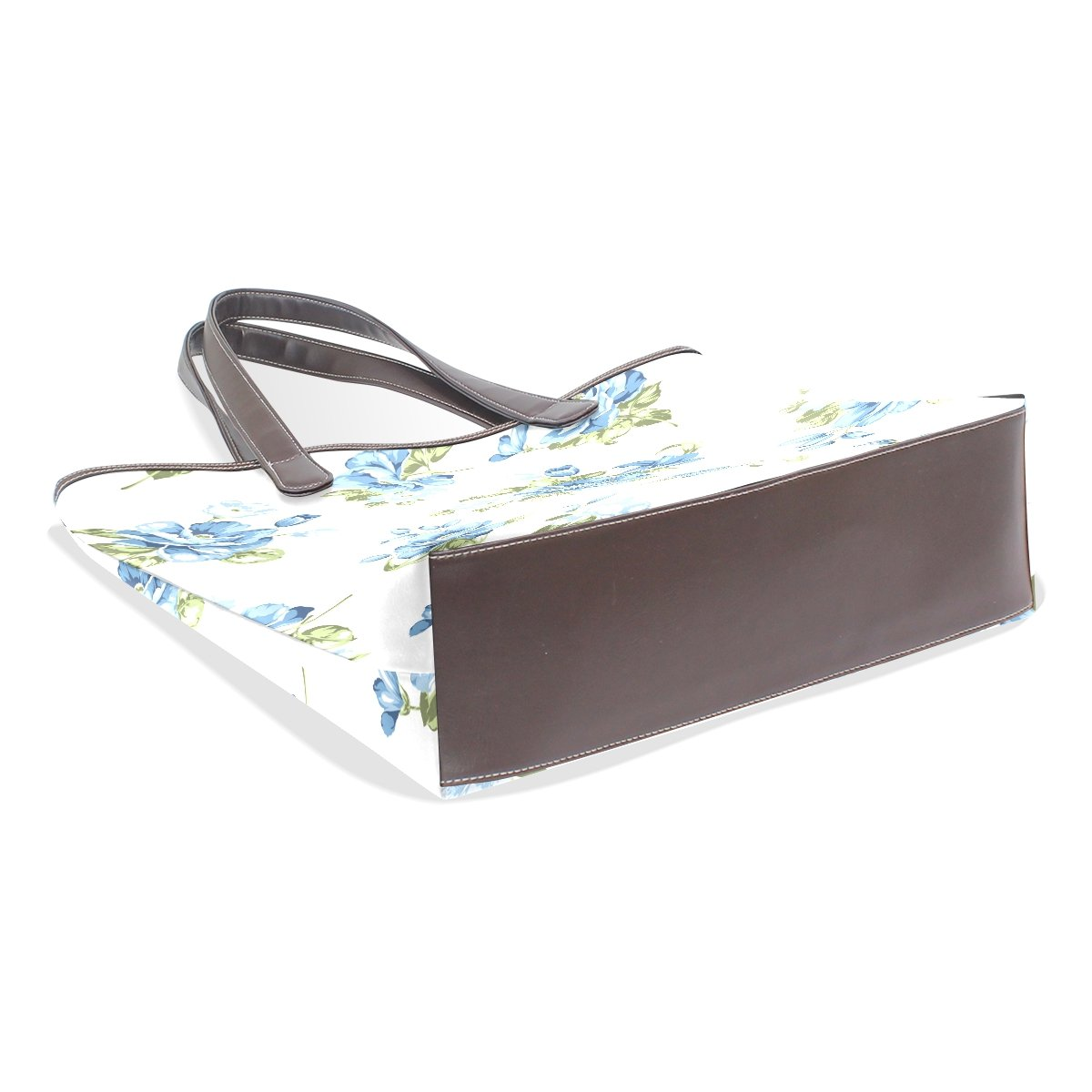Ye Store Blue Floral Lady PU Leather Handbag Tote Bag Shoulder Bag Shopping Bag