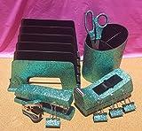 Light Green Teal Office Supplies: Teal Glitter Desk Stapler, Tape Dispenser, Scissors, 4 Binder Clips (32mm), Large Pencil Cup, Incline File Sorter, and Stapler Remover Set