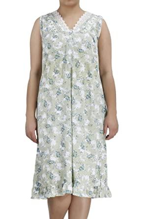 497f3ef9f2 Image Unavailable. Image not available for. Color  Ezi Women s Nightgowns14  Sleeveless V-Neck Cotton Nightgown