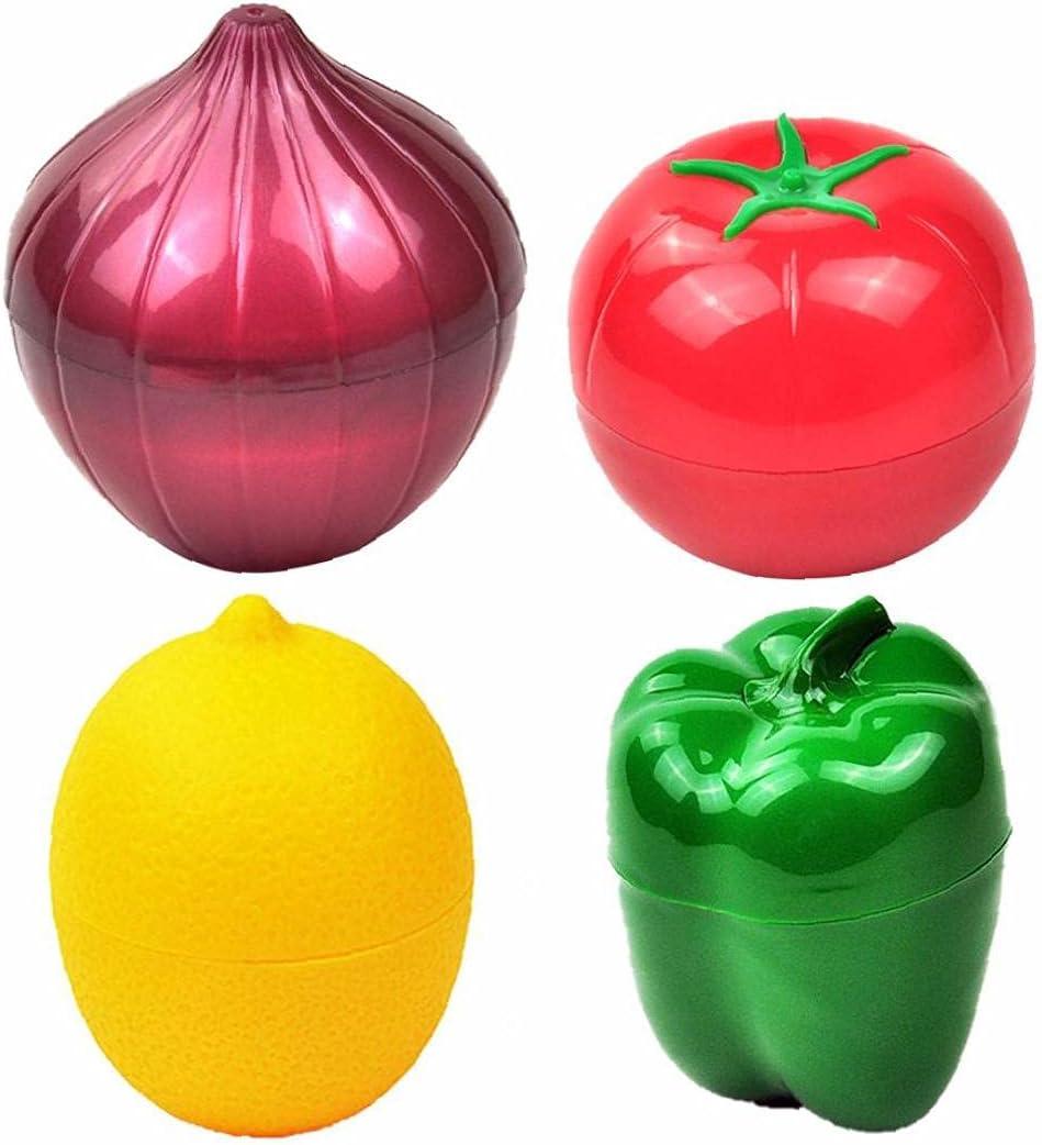HuaHuoYou Food Saver Fruit Vegetable Storage Containers Onion Pepper Lemon Tomato Shaped Reusable Plastic Refrigerator Box 4PCS