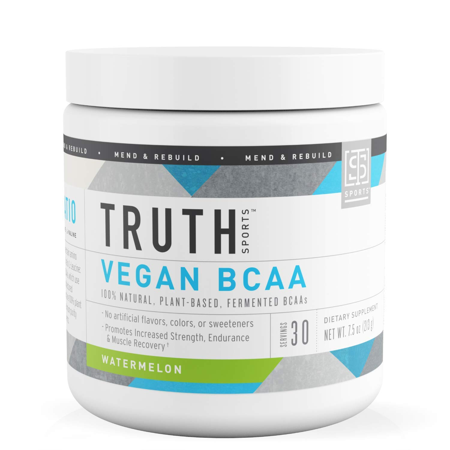 Truth Nutrition Fermented Vegan BCAA Protein Powder Supplement- 2:1:1 Improved Formula is Pure, Powerful All Natural Branched Chain Amino Acids (Watermelon, 30 Servings)
