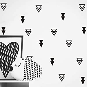 Set of 44 pcs Triangles Modern Arrow Pattern Wall Sticker-DIY Home Wall Decal for Kids Boys Baby Bedroom -Art Vinyl Wall Decor Mural YYU-15 (Black)