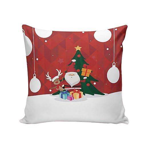 HomeCreator Merry Christmas - Funda de cojín para sofá de ...