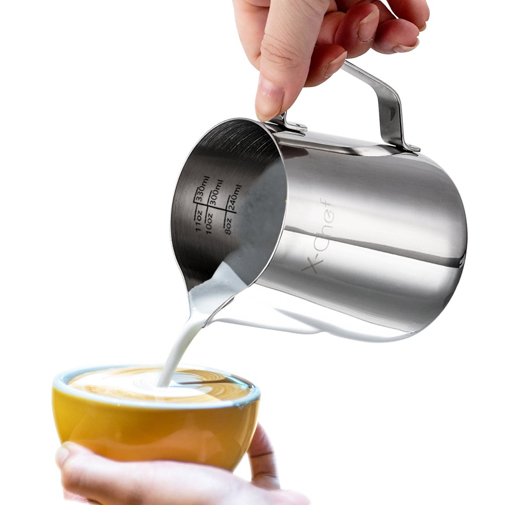 X-Chef Frothing Pitcher Stainless Steel Milk Pitcher 12 oz (350 ml) by X-Chef (Image #3)