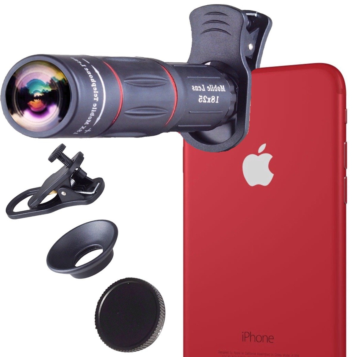 Skyfall 18X Zoom iPhone Lens I Camera Lens Optical Manual I Telescope Lens with Clamp Clip-on for iPhone 8 plus/8/7 Plus/ 7/ iPhone 6s Plus/ 6s/ 6 Plus/ 6/ 5s/ 5 and other smartphones by Skyfall