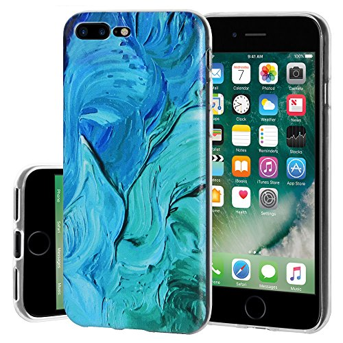 "Amzer Coque en gel souple transparent ""Abstrait bleu Ellen Hong Coque en TPU pour Apple iPhone 7 Plus"