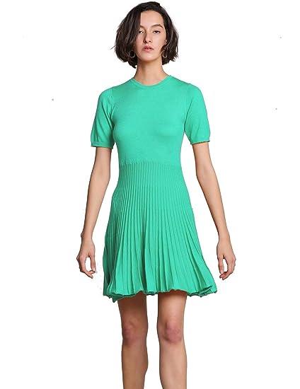 67eddbb0ead FINCATI Long Sweater Dress Spring Autumn Cashmere Belt Fitted Waist Big  Swing Midi Dresses at Amazon Women s Clothing store
