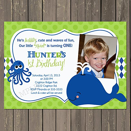 Whale Birthday Invitation, Whale First Birthday Party Invitation,