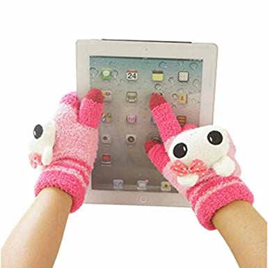 0a39ad3f1 Image Unavailable. Image not available for. Colour: Flyfox® Women Girl Cute  Magic Touch Screen Lovely Animal Gloves ...