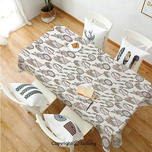 (Feather Rectangle Polyester Tablecloth,Native American Dreamcatchers Spiritual Gypsy Primitive Tribal Print Decorative,Dining Room Kitchen Rectangle Table Cover,54W X 108L inches,Beige Pale Brown Pink)