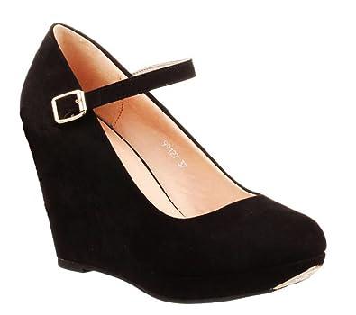 King Of Shoes Damen Riemchen Pumps Keilabsatz Stilettos High Heels Plateau Keilpumps Schuhe LU