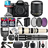 Holiday Saving Bundle for D7200 DSLR Camera + 650-1300mm Telephoto Lens + 18-105mm VR Lens + 500mm Telephoto Lens + 2 Of 32GB Card + 1yr Extended Warranty + Flash + Case - International Version