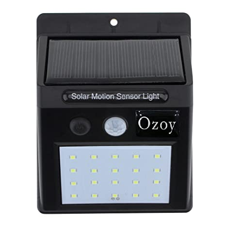 Bigsavings. Ozoy 20 LED Weatherproof Wireless Security Wall Solar Light with Motion Sensor (Black, Small) Home Lights at amazon