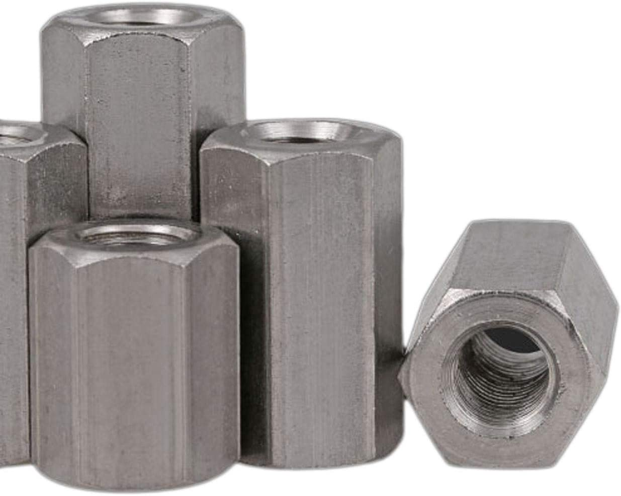 5pcs M8 x 1.25 x 40mm Long Rod Coupling Hex Nut Connector Zinc Plated