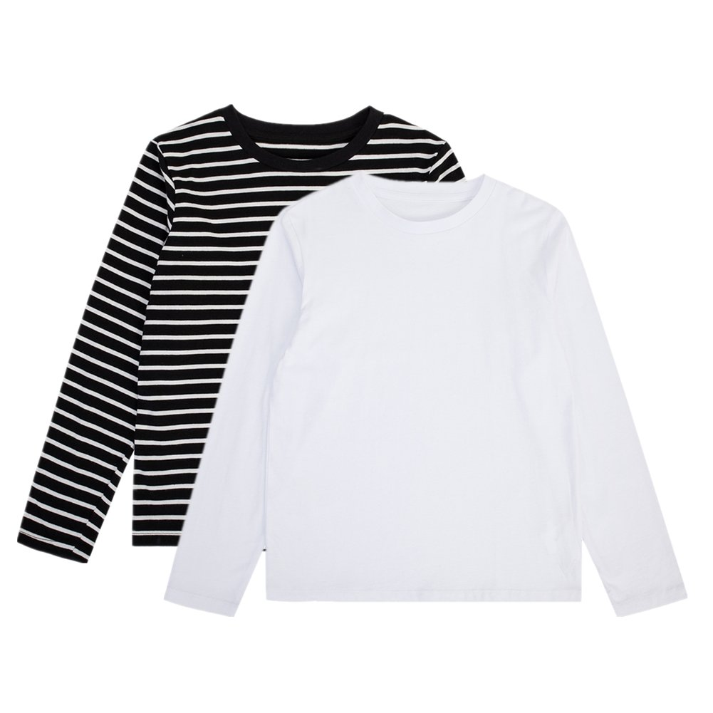 UNACOO Kids Girls 2-Pack 100% Cotton Solid and Stripe Long Sleeves T-Shirts(White + Balck/White Stripe, l(8-10T))