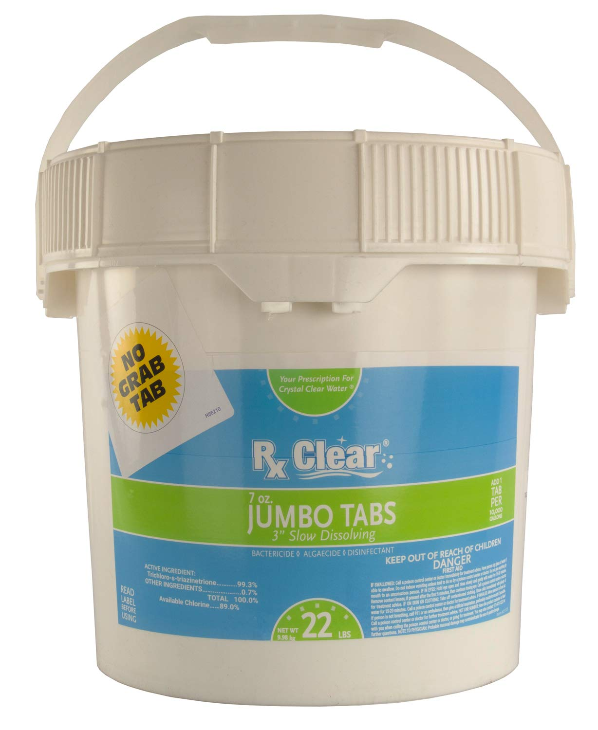 Rx Clear 3-Inch Water Soluble Chlorine Tabs   22 Pound Bucket   Use As Bactericide, Algaecide Disinfectant in Swimming Pools Spas   No Need to Take Out of Wrapper by Rx Clear