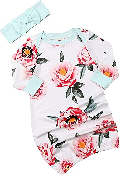Newborn Baby Boy Girl Long Sleeve Floral Infant Sleepwear Pajamas Set