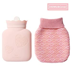 JORDAN&JUDY Hot Water Bottle with Knit Cover, BPA Free Silicone Hot Water Bag, Microwave Oven Heating and Fridge Available, Hot and Cold Compress, Heat Therapy (Pink Heart)