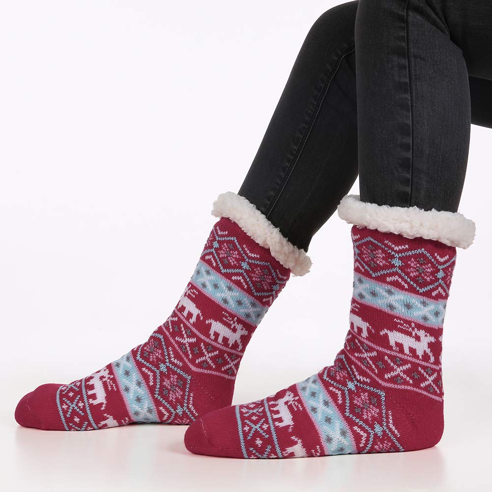 Umeko Womens Slipper Socks Fun Novelty Warm Fluffy Gifts For Men Women Christmas Socks (one size, A-Red)