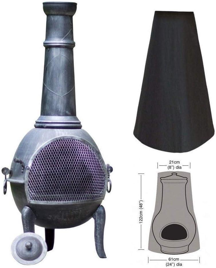 Black Elikliv Outdoor Chiminea Cover Heavy Duty Garden Patio Heater Cover Waterproof Rain Sun UV Protector 1.2m High