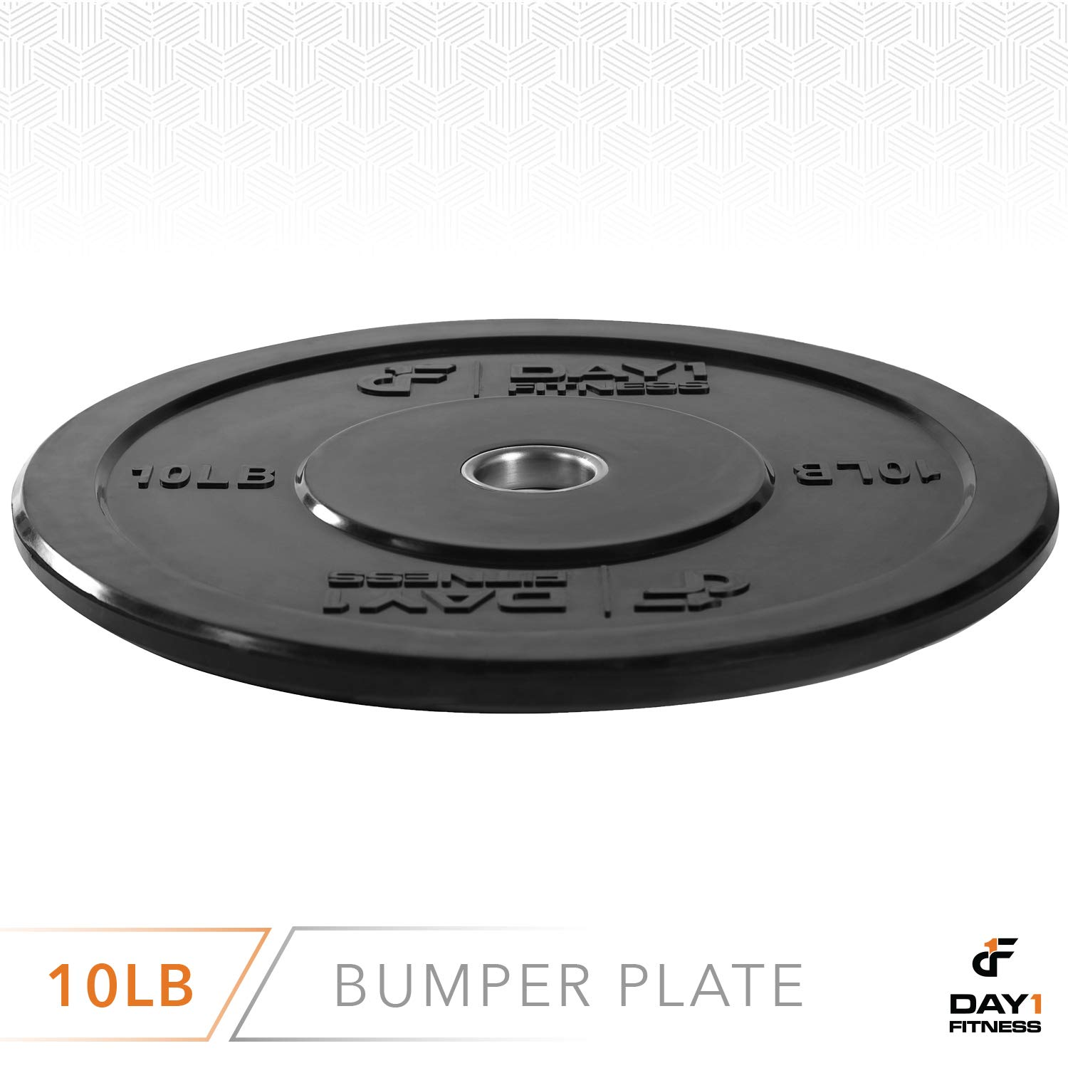 """Day 1 Fitness Olympic Bumper Weighted Plate 2"""" for Barbells, Bars – 10 lb Single Plate - Shock-Absorbing, Minimal Bounce Steel Weights with Bumpers for Lifting, Strength Training, and Working Out by Day 1 Fitness (Image #3)"""