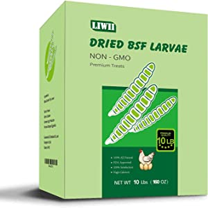 Dried Black Soldier Fly Larvae - 10 LBS - 100% Natural Non-GMO Extra Calcium & Protein Compare with Live/Dried Worms, Chicken Treats for Hens, Food for Bearded Dragon, Wild Birds, Hedgehog, Turtles