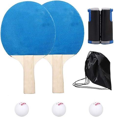 Lixada Juego de Entrenamiento Profesional de Tenis de Mesa: 2 Raquetas+Red+ 3 Pelotas+Bolsa Portátil: Amazon.es: Deportes y aire libre