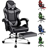 Alfordson Gaming Chair Racing Office Chair Computer Desk Chair PU Leather High Back Chair with Footrest Grey Colour