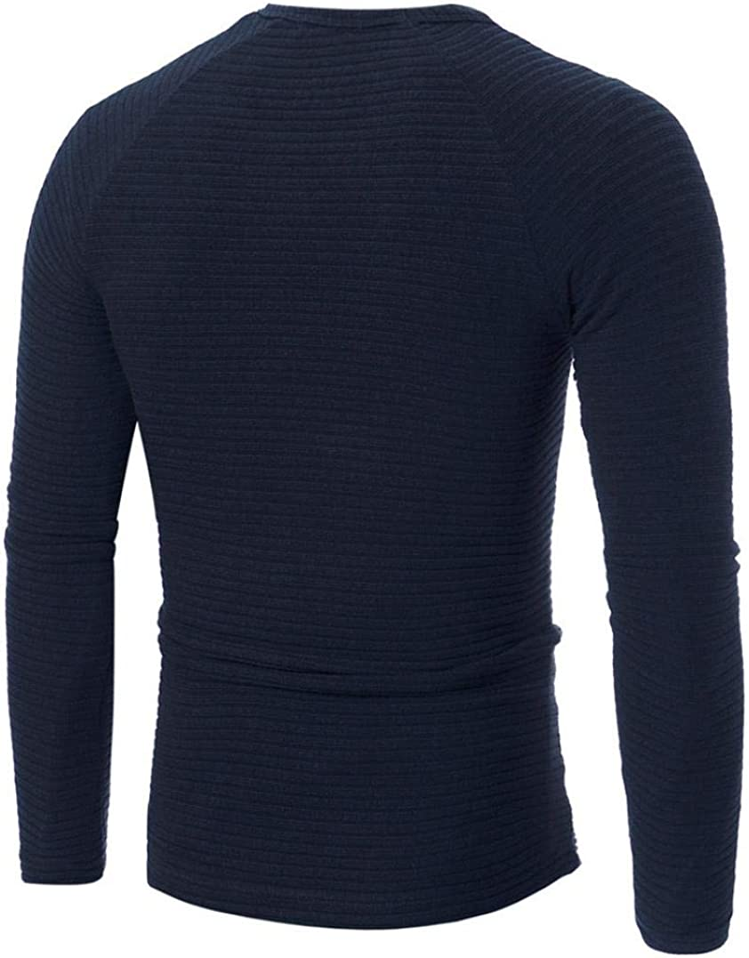 Geetobby Man Casual Solid Crew Neck Pullover Slim Knitting Sweaters Tops Blouse