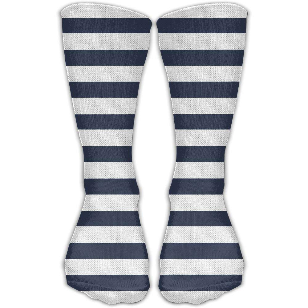 Blue And White Stripes Unisex Performance Crew Socks Protect The Wrist For Cycling Moisture Control Elastic Socks 11.8inch
