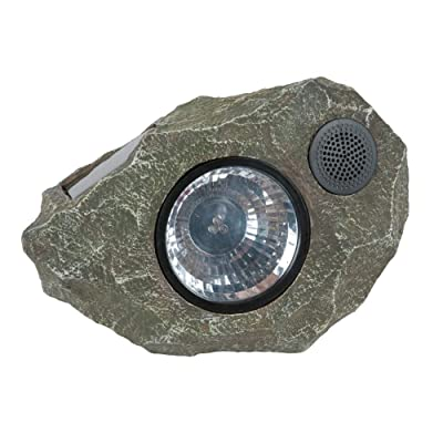 Solar Rock Light Speaker –Outdoor Rock Speaker Light for Backyard Garden and Patio – Bright White Premium LEDs, Waterproof, Solar Powered, Grey by Solucent